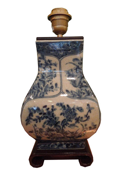 Lampe carrée bleu blanc de chine