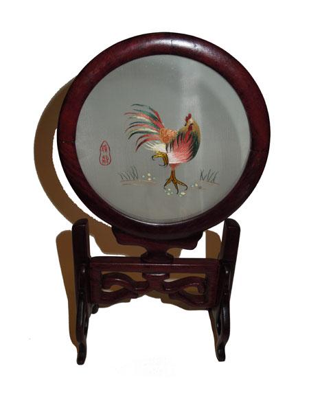 Cadre en soie : coq