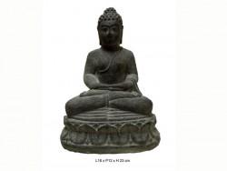 Bouddha en pierre, en méditation, sur socle en pierre