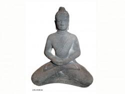 ouddha zen,en pierre, en position lotus.