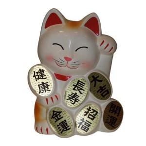 chat japonais: maneki neko blanc,avec des pieces d'or