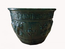 Cache pot, pot, terre cuite, céramique, motif dragon