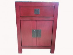 meuble, table chinois laque rouge