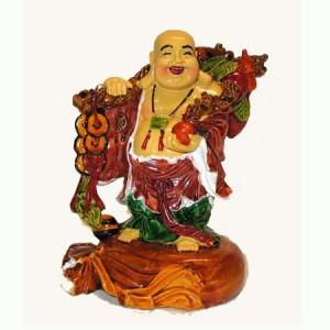 Bouddha rieur, voyageur, chinois en résine