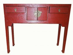 Console, table, en laque rouge