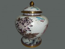 Pot, vase à gingembre en cloisonné ou émail sur cuivre;