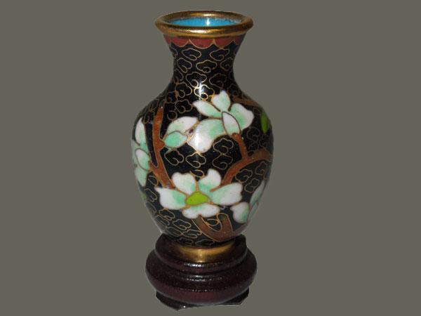 Vase miniature, collection en émail sur cuivre, en cloisonné.