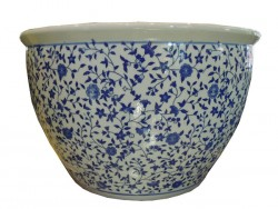 cache pot et pot bleu blanc