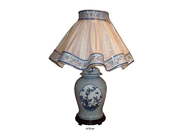 Lampe bleu blanc oiseaux et fleurs