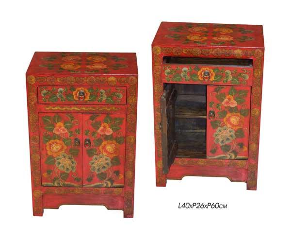 table de nuit, meuble chevet tibétain