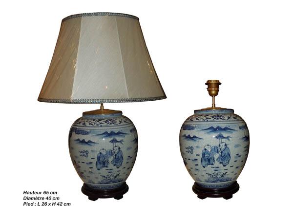 Lampe bleu blanc de chine, forme rond
