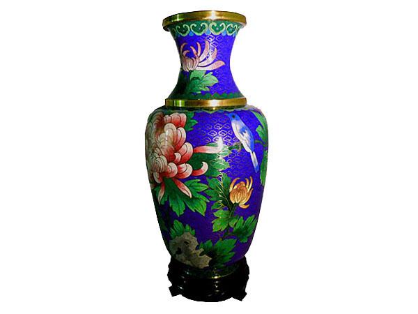 Vase bleu en cloisonné