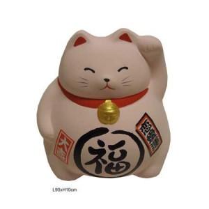 Chat japonais, maneki neko blanc, patte gauche levée, chat tirelire.