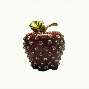 Boite sous forme de fraise, en étain